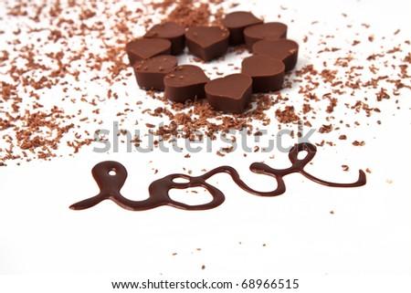 Heart shape chocolates - stock photo
