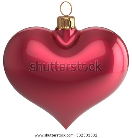 Heart shape Christmas ball New Year's Eve love bauble decoration red blank adornment. Merry Xmas traditional wintertime holidays ornament. 3d render isolated on white background - stock photo