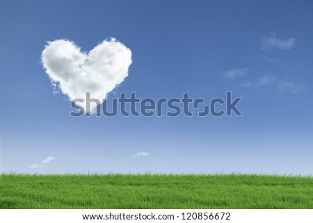 Heart shape cloud floating in the air over green field with copy space