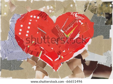 Heart shape collage background, made of magazines and paper clippings. Made myself. - stock photo