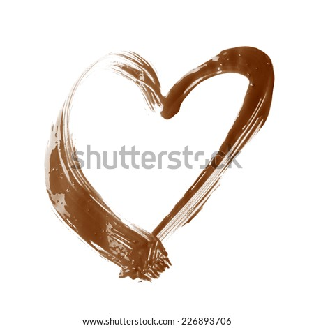 Heart shape copyspace frame made with a single stroke of oil paint brush, composition isolated over the white background - stock photo
