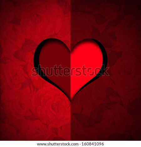 Heart Shape cut on Red Velvet / Red velvet roses background with a hole in the shape of heart with stylized heart