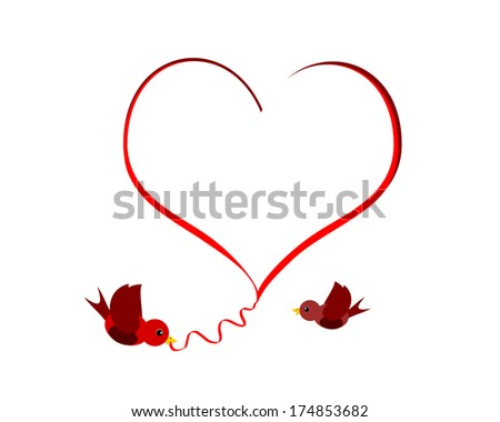 heart shape design with two red birds - stock photo
