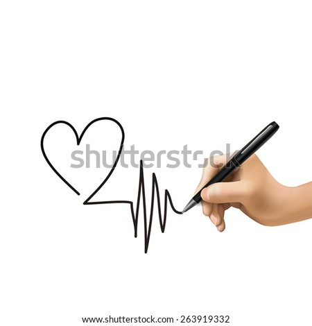 heart shape drawn by 3d hand isolated on white background - stock photo