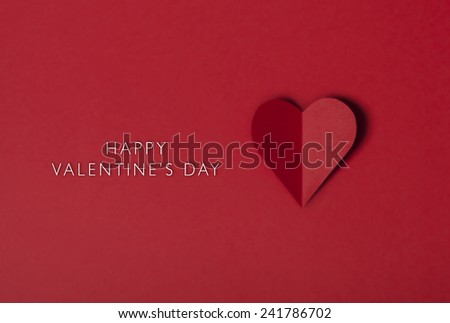 Heart shape from paper Happy Valentines day, holiday card - stock photo