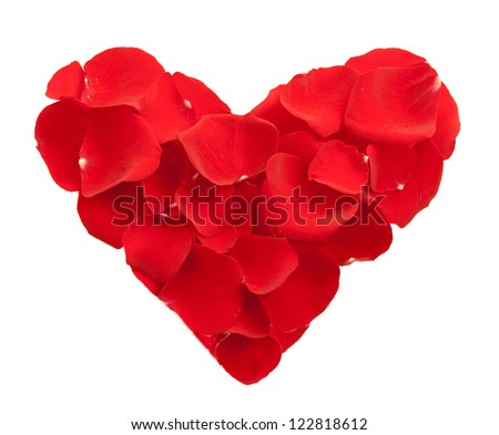 Heart shape from red rose petals isolated on white  - valentine day concept - stock photo