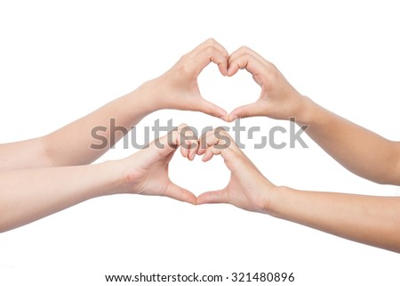 heart shape hand isolated on white.