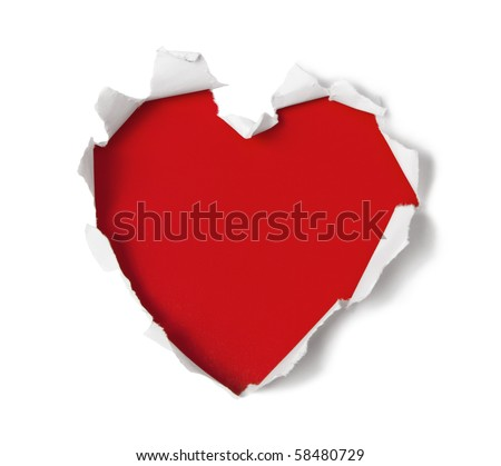 Heart shape hole through paper - stock photo