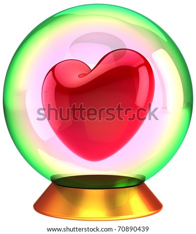 Heart shape in crystal globe. Happy Valentines Day! Sweetheart in Love bauble souvenir. This is a detailed three-dimensional render 3d (Hi-Res). Isolated on white background. - stock photo