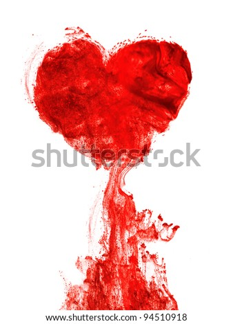 Heart shape ink of blood in water isolated - stock photo