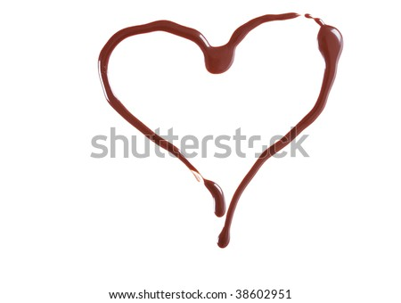 Heart shape, made from chocolate - stock photo