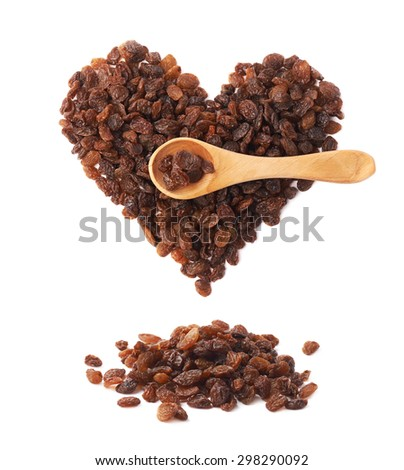 Heart shape made of multiple raisins and wooden spoon over it, composition isolated over the white background - stock photo