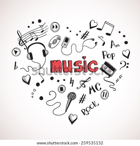 Heart shape made of sketch music elements - stock photo