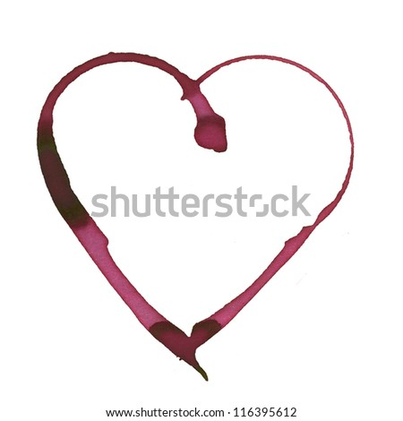 heart shape made with stain from wine glass - stock photo