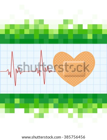 Heart shape medical plaster and cardiogram on mosaic green background. Conceptual healthcare illustration with heart adhesive bandage. raster  - stock photo