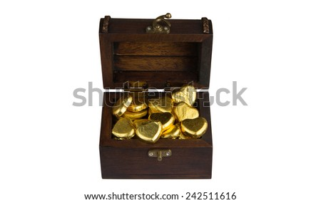 heart shape of chocolate  in a treasure chest
