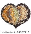 Heart Shape of Collection Cereal Grains and Seeds :Rye, Wheat, Barley, Oat, Sunflower, Corn, Flax, Poppy, Millet - stock photo