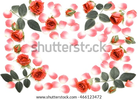 Heart shape of red roses on a white background vintage photo with rose