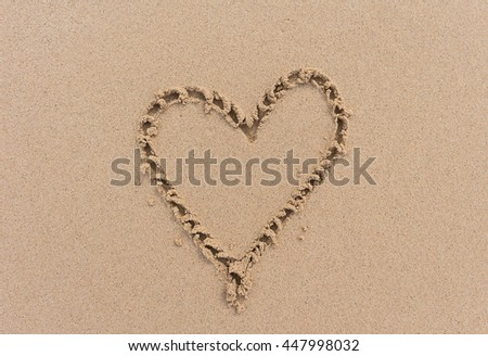 Heart shape on sand.