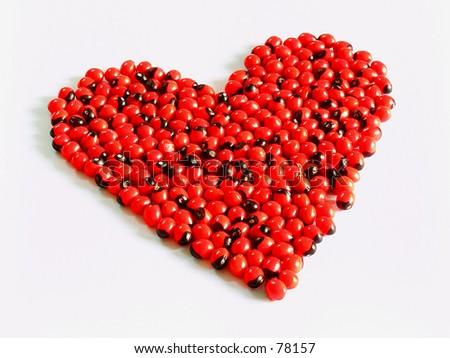 Heart shape: Red beans - stock photo