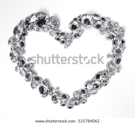 heart shape scattered brilliant diamonds on white background - stock photo