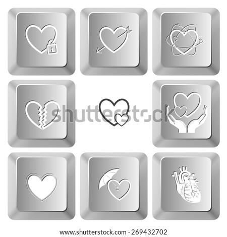 Heart shape set. Raster set computer keys. - stock photo