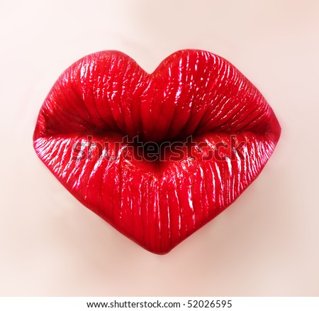 heart shape sexy lips for saint valentine kiss - stock photo