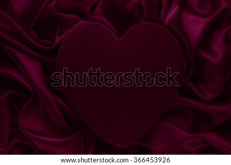 Heart Shape,Silk Cloth Background, Fabric folds as Abstract Valentine Day Blank Backdrop - stock photo