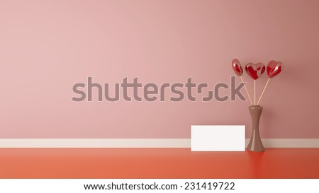 heart shape toy inside vase in interior with pink wall,  - stock photo