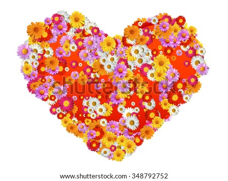 Heart Shape with flowers full of marguerites - stock photo