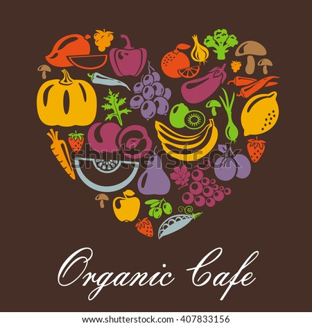 Heart shape with organic food icons. Vegetables and fruits. Organic cafe concept. Organic vegetables and fruits illustration