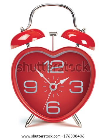 Heart shaped alarm clock on white. Illustration - stock photo