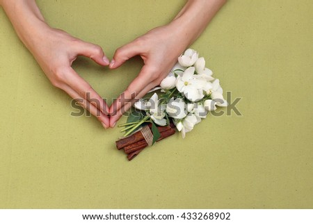 Heart shaped arms with Jasmine flowers, cinnamon and anise on a green canvas fabric, linen material background