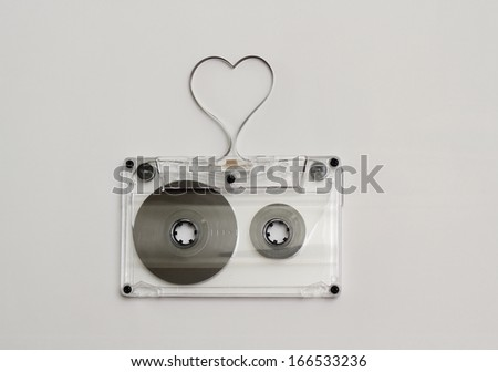 Heart shaped audio tape, concept for love music - stock photo