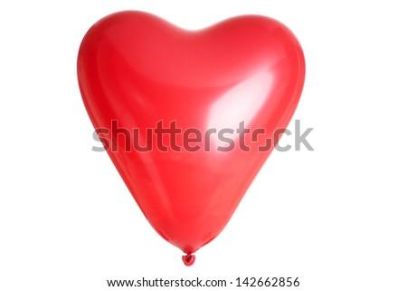 Heart shaped baloon, isolated on white - stock photo