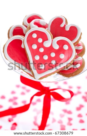 Heart-shaped biscuits for Valentine's Day with red ribbon - stock photo