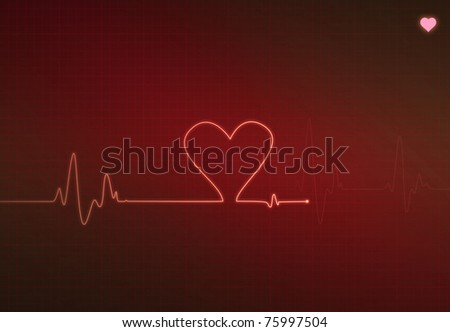 Heart-shaped blip on a medical heart monitor (electrocardiogram) with Red background and heart symbol - stock photo