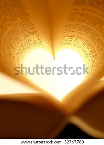 heart-shaped book (macro-shot) - stock photo