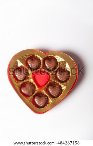Heart shaped chocolate box isolated on white