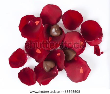 heart shaped chocolates in rose petals - stock photo