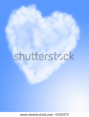 Heart shaped cloud formation in blue sky