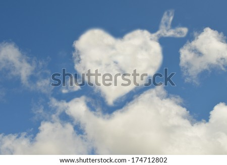 Heart shaped clouds - stock photo