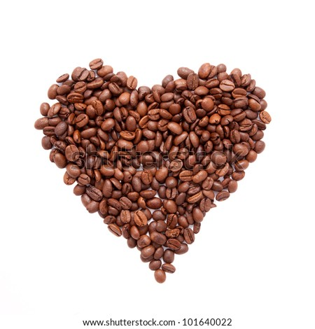 Heart shaped coffee beans  isolated on a white background with clipping path