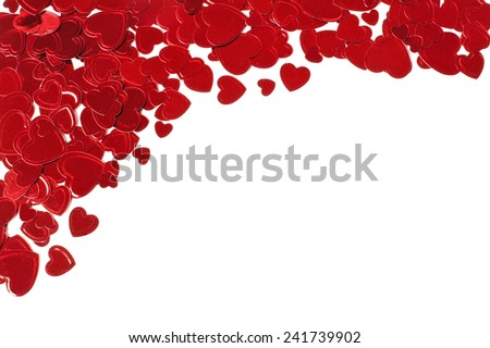 Heart shaped confetti corner top border for Valentines Day over white