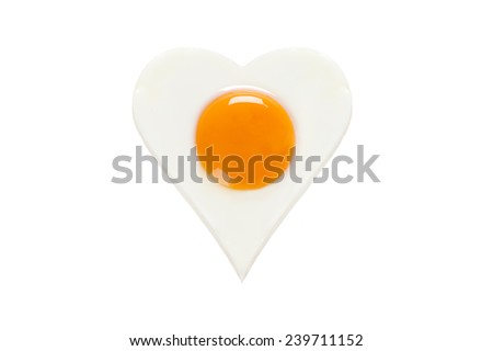 heart shaped cooked egg isolated - stock photo