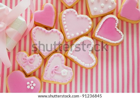 Heart shaped cookies for valentine's day - stock photo
