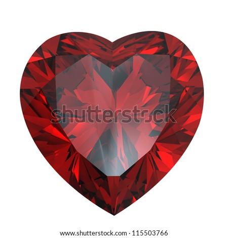 Heart shaped Diamond isolated on a white background.  Garnet - stock photo
