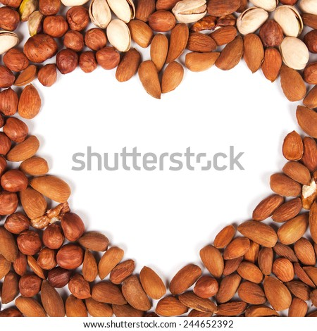 Heart shaped frame made of peanut, hazelnut, walnut, almond, pistachio - stock photo