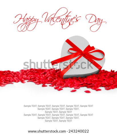 Heart shaped gift and hearts on white background