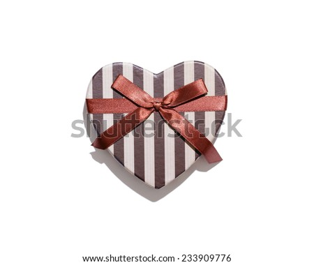 Heart shaped gift box isolated on white background. - stock photo